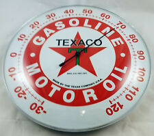 TEXACO GASOLINE MOTOR OIL THE TEXAS COMPANY ROUND DOME SHAPE ADV THERMOMETER