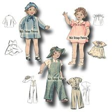 "Vtg Doll Pattern Dress, Coat, Hat ~fits 19"" 20"" Shirley Temple Patsy Ann, Compo"