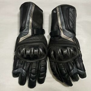 BMW Motorrad Double-R Motorcycle Gloves Black Leather Mens Size 10/10.5