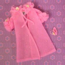 Vintage Barbie Clothes 1857 Dreamy Pink Robe Felt Slipper Flower Trim 1968 EXLNT