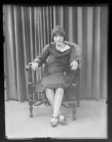 Vintage Glass Negative, Studio Photo of Seated woman with hat, Flapper Era