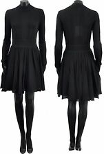 GIVENCHY 3520$ Authentic New Black Semi Sheer Box Pleated Dress sz M