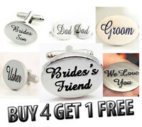 Silver Personalised Engraved Wedding Cufflinks Cuff Links Groom Best Man Usher