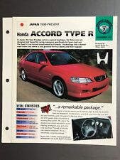 "1998 > Honda Accord Type R IMP ""Hot Cars"" Spec Sheet Folder Brochure Awesome"