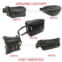 REAL LEATHER BUM BAG SECURITY SAFE TRAVEL MONEY WAIST BELT WALLET 5 POCKET BLACK