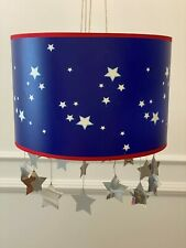 Star blue white Drum lampshade Nursery Toddler ceiling lightshade