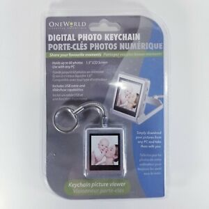 """One World Digital Photo Keychain Canadian Tire Up to 60 Photos 1.5"""" LCD Screen"""