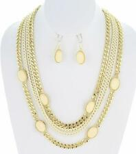 NEW COLORFUL MULTI STRAND CHAIN & BEAD NECKLACE & EARRING SET GT/CREAM