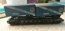 Wabash Railroad 50 foot flatbed wagon with 2 vans, assembled (Athearn)