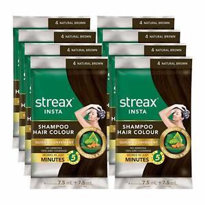 Natural brown Streax Insta Shampoo Hair Colour,15 ml, Instant Shine & Soft Touch