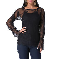 Plus Size Women Lace Mesh Tops Casual Party Shirt Ladies Steampunk Gothic Blouse