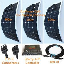 Semi-Flexible Bendable Lightweight 300w 300 Watt Solar Panel Kit for 12v Battery