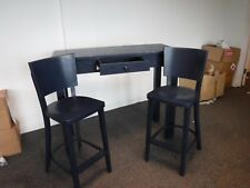 solid wooden tall breakfast bar with 2 stools blue painted