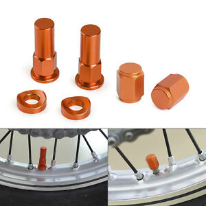 Aluminum Rim Lock Nuts Washers & Tire Valve Stem Caps Universal For KTM Suzuki