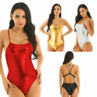 Women Wetlook High Cut Thong Leotard Swimsuit One-Piece Bodysuit Jumpsuit Romper