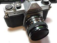 Vintage Pentax Asahi K1000 SLR Camera w/ Macro Sears Lens - Take A Look