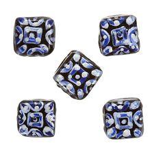 Argent Bleu Peint à la Main Noir Carré Perle de verre 10x10x5mm Pack de 5 (B82/1)