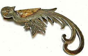Vintage Guatemala 900 Silver w Gold Overlay Quetzal Bird pin 6.5 grams