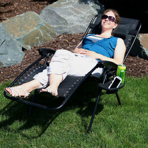 Sunnydaze Oversized Zero Gravity Lounge Chair with Pillow and Cup Holder - Black