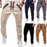 Men's Slim Fit Urban Straight Leg Trousers Casual Pencil Jogger Cargo Long Pants