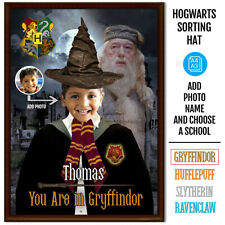 Personalised Hogwarts Sorting Hat Posters-Add photo, Name and choose house name