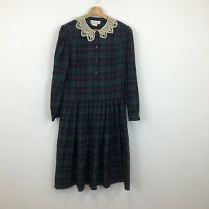 Vintage Eastex Dress Checked Lace Collar Button Up Sz 10