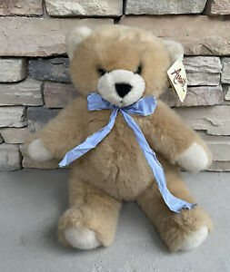 "Vintage AVANTI APPLAUSE Classic TEDDY BEAR Plush 22"" Blue Bow Original Tags EUC!"