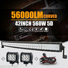 "CREE 5D 560W 42"" Curved 40inch + 2x 4INCH 18W LED Light Bar Spot Offroad 4X4 SUV"
