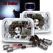 WHITE LED HALO! 7x6 H6054 H6014 CLEAR CRYSTAL LENS HEADLIGHTS HID 8000K HI/LOW