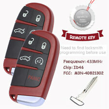 2 Red Smart Remote Key Fob for Chrysler 300 Dodge Charger 2011-2018 M3N-40821302