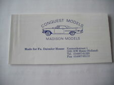 Conquest Models Madison Models 1/43 Scale Pocket Catalog 1St Edition 19 Pages