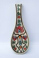 Folkart Ceramic Pottery Spoonrest Kitchen Utensil Holder 9 inch