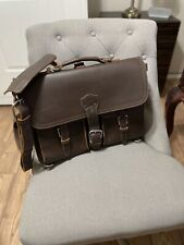 saddleback Thin Front Pocket leather briefcase Dark Coffee Brown NEW-RARE SIZE!