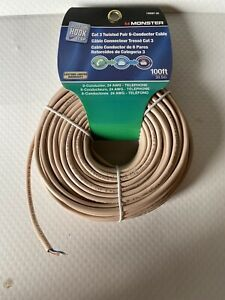 Monster Just Hook It Up 140087-00 Cat 3 Twisted Pair 6-Conductor Cable, 100' FS