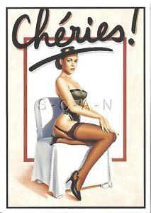 Original Large French Nude Artistic Pinup Card- Hubert de Lartigue- Cheries