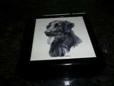 Keepsake Box Hardwood -Tile Dog Portrait Flat Coated Retriever Cathy Lester Art