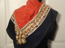 """Chanel Navy Gold Gripoix Chains Jewels 100% Silk Print Scarf 34 x 34"""" Italy"""