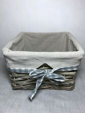 Small Square Grey Wicker Basket With Liner 20cm x 20cm