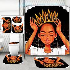 Africa Girl Waterproof Bathroom Shower Curtain +Hooks Toilet Floor Lid Bath Mat