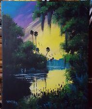 Original Landscape acrylic painting florida art Highwaymen style Sunset