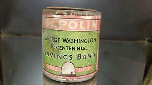 1932 Sapolin Paint George Washington Bi Centennial Savings bank Tin
