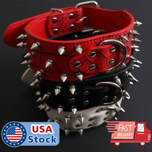 Spiked Studded Rivet PU Leather Pit Bull Dog Collar BLACK L XL FOR LARGE BREEDS