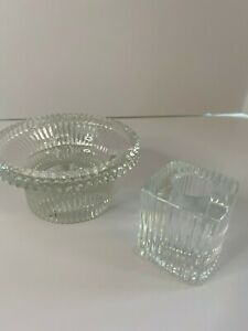 Vintage Two crystal candleholders, hold pillar candle and round candle