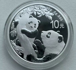 2021 SILVER China PANDA Coin 10 Yuan 30g .999 PURE Silver In Capsule Mint