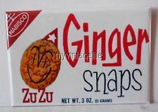 """Vintage NABISCO ZUZU GINGER SNAPS COOKIES 2"""" x 3"""" Fridge MAGNET Art COOKIE"""