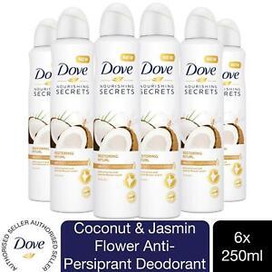 6pk 250ml Dove Coconut & Jasmin Flower Anti-Perspirant Deodorant Aerosol