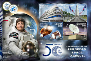 Liberia 2016 50th Anniversary European Space Agency: Comet Halley Sheet of 4 MNH
