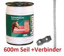 600 M AKO Corde de clôture électro zaunseil économie Line ELECTRIQUE 6 mm Blanc