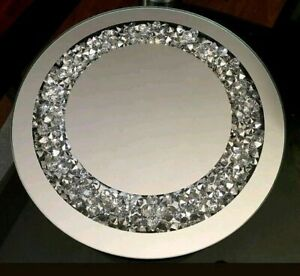 Beautiful Round Mirrored Crystal Candle Plate 25cm