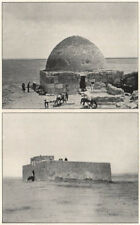 '1. The well of Asra; 2. Guard house at Ain el Beda'. Syria 1908 old print